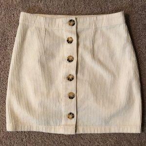 White Mini corduroy Skirt
